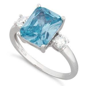 Jewelry - Sterling Silver Triple Rect Blue Topaz CZ Ring
